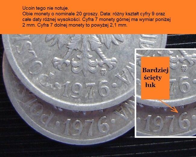 2 monety 20 groszy z roku 1976 różnie bita data. Destrukt?