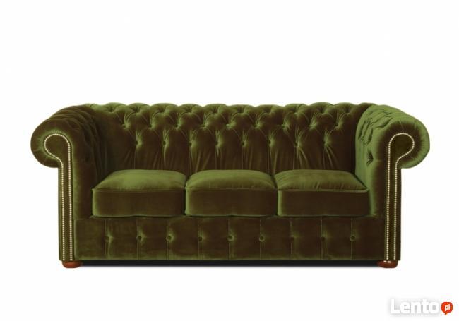Sofa Chesterfield 3-osobowa - plusz - kanapa różne kolory