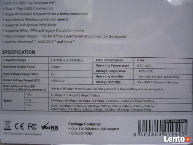 Karta sieciowa WiFi WI-FI USB 150Mbps NANO RXS adapter