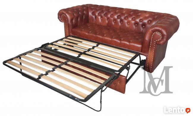 Sofa Wiliams Chesterfield 3 rozkładana-skóra naturalna