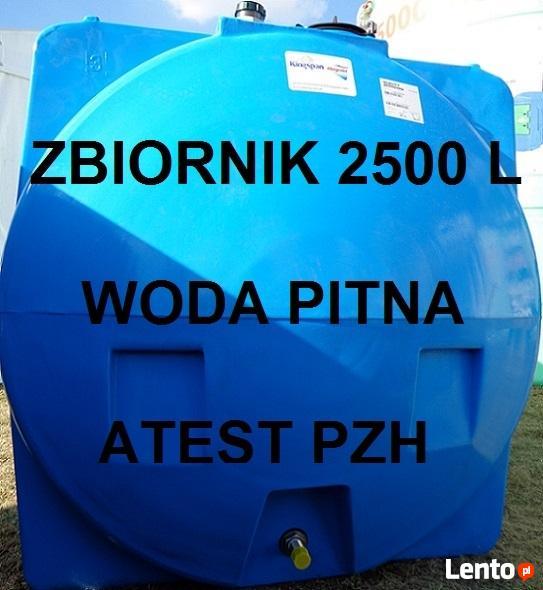Zbiornik na wodę PITNĄ 2500 L Atest PZH