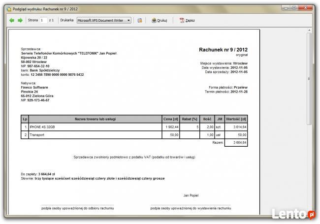 Rachunek Program Do Wystawiania Rachunków Oraz Faktur Bez Va Zielona