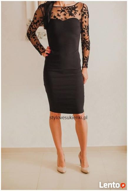 c9050c33f7 Elegancka czarna koronkowa sukienka midi z siateczką Czeladź