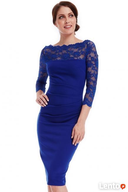 15a3a3511c Elegancka kobaltowa sukienka midi wyszczuplająca z koronkowy Czeladź