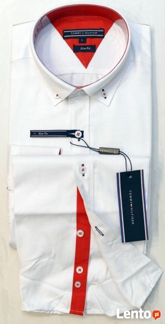 Koszula męska Slim Fit TOMMY HILFIGER - Biała rozmiar L