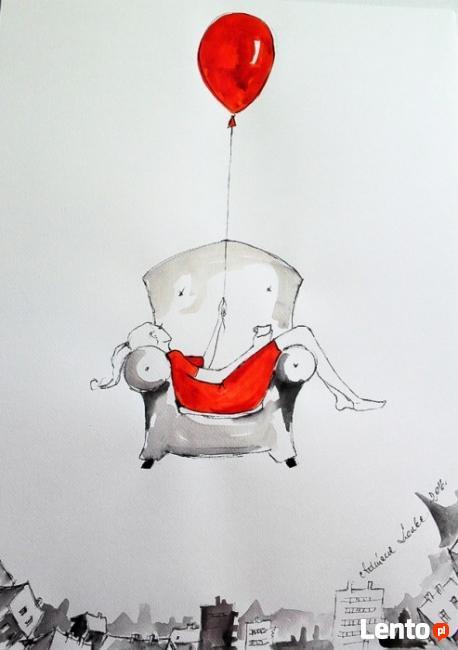 Praca akwarelą i piórkiem FLOW artystki Adriany Laube