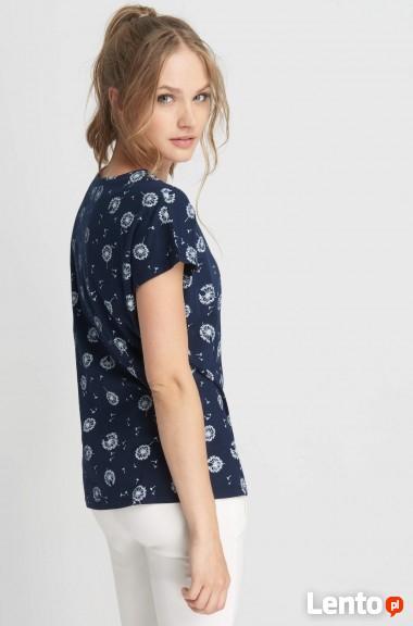 Granatowy t-shirt z nadrukiem Orsay