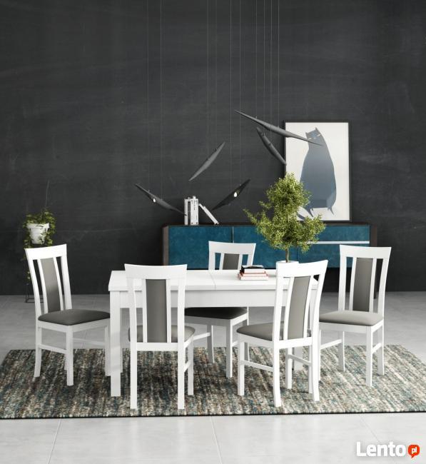 Biały stół z 6 krzesłami-sellmeble