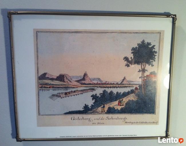 Barwna grafika z widokiem na Godesberg i 7 wzgórz nad Renem