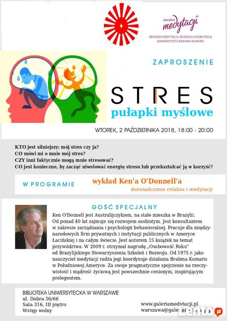 STRES – pułapki myślowe. Film z spotkania w Warszawie.