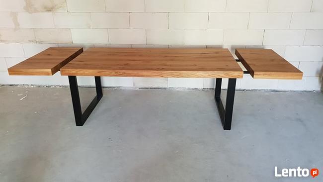 Stół dębowy rozkładany 3 m blat 8 cm Loft industrial Transpo