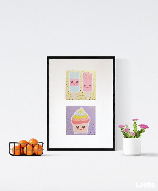 pastelowy obrazek z ciastkami, a4 plakat słodycze