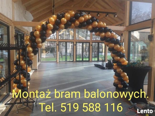 Montaż bram balonowych brama z balonów girlanda balonowa hel