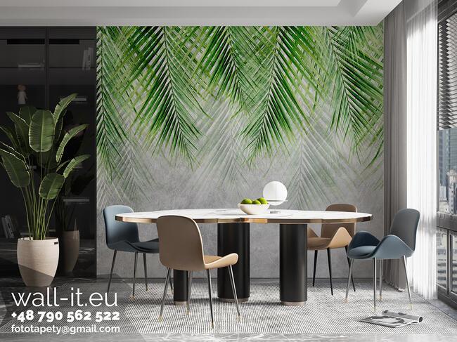 Fototapeta tropikalne liście na betonowej ścianie GD19