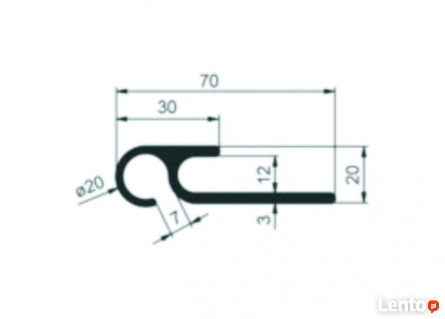 Profil 20x70x3300 do zaczepiania plandeki przednia aluminiow