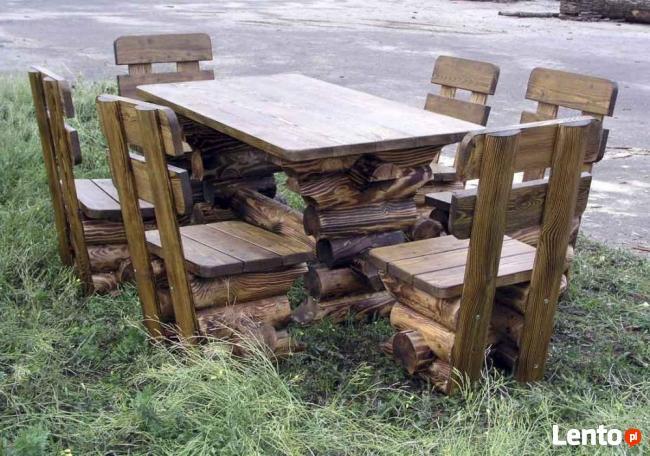 Meble ogrodowe, drewniane meble, meble z bali