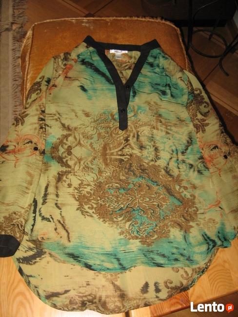 Nowa Zielona luźna bluzka z długim rękawem M-L