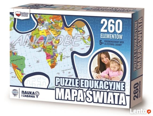 PUZZLE EDUKACYJNE -Mapa Świata - NOWOŚĆ polski produkt
