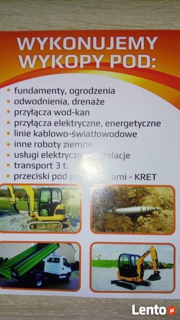 Minikoparka Wynajem Przeciski-Kret