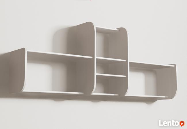 Segmentowa półka wisząca detalion na ścianę książki dvd