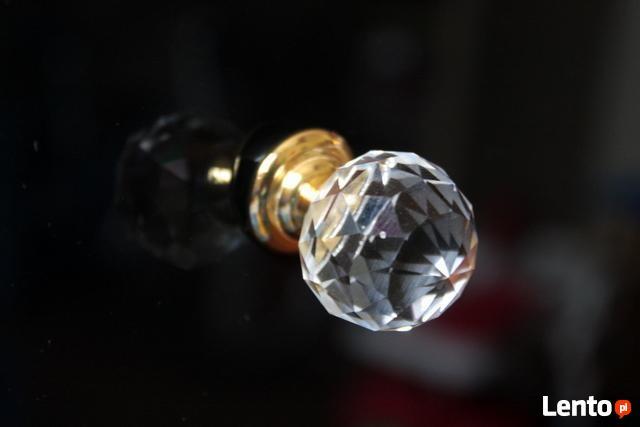 Uchwyt kryształowy do mebli - stopka złota