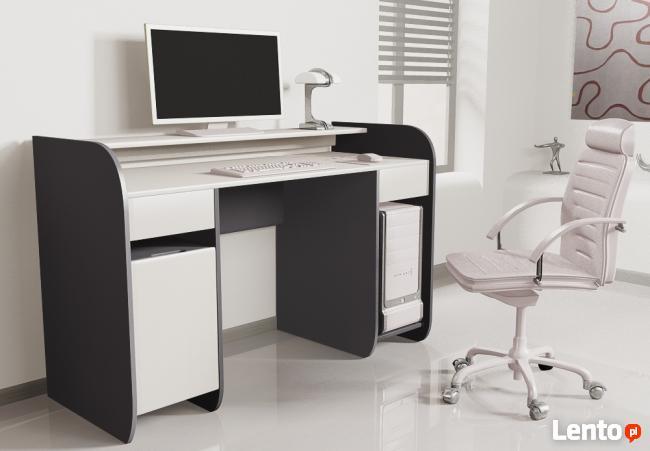 Nowoczesne biurko komputerowe Detalion dwu kolorowe blws