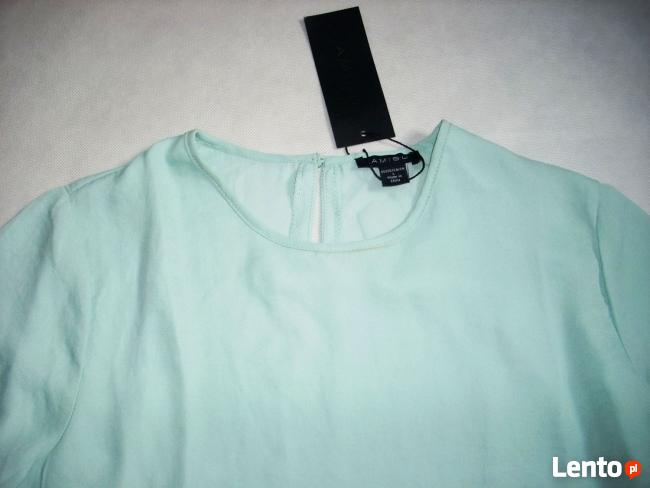 AMISU MIĘTOWA Tunika Bluzka Koszula Falbanka NOWA L XL