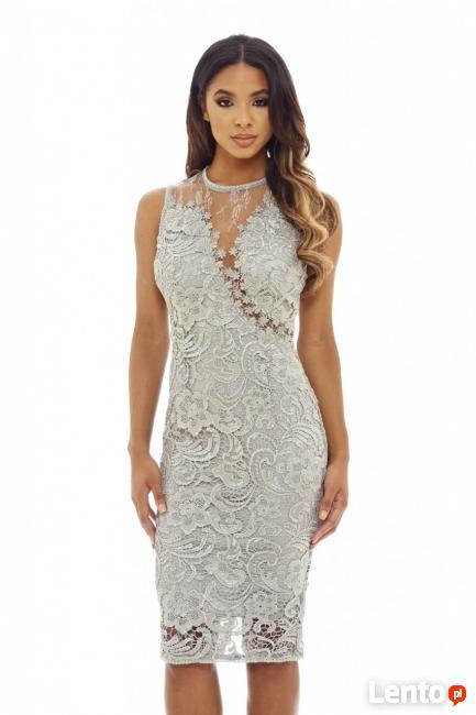 f982824ab1 Ekskluzywna szara koronkowa sukienka midi z siateczką Czeladź