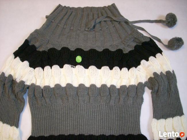 TUNIKA Sweter SUPER Splot Pompon NOWA S M