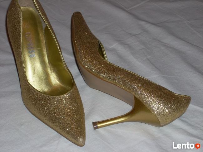 Złote Buty Szpilki Wizytowe j nowe 36 36,5
