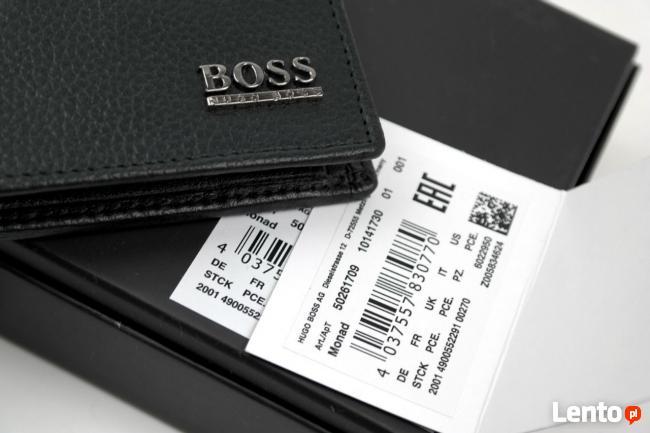cefe564a64c79 Znany HUGO BOSS portfel męski model monad skóra naturalna czarny  NS-53