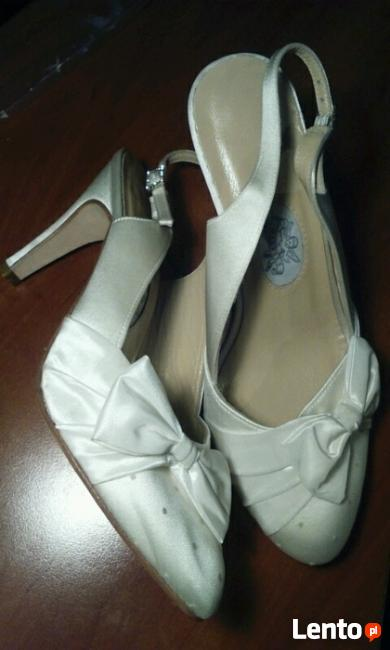 Buty Szpilki Eleganckie Ślubne Białe Skóra Naturalna 39,5