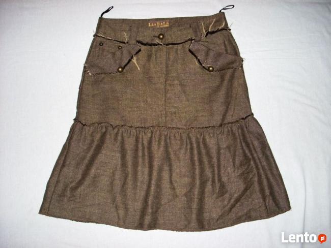 Świetna Spódnica Guziki Kieszenie j Nowa 34 XS 36 S
