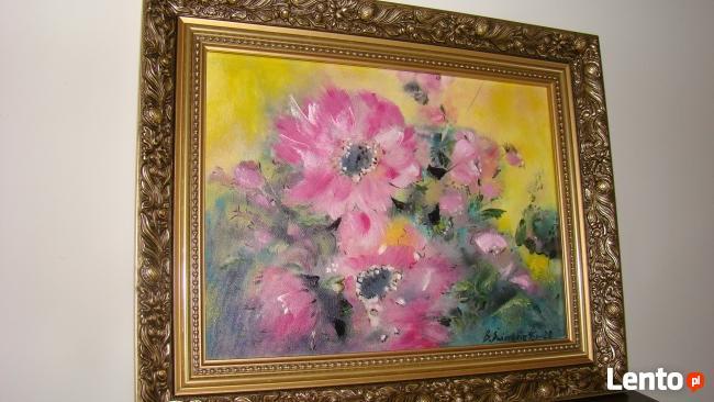 Obraz olejny Czerwone Kwiaty Duże