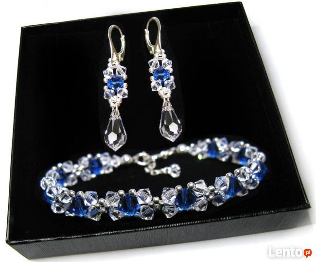 Komplet Ślubny Swarovski Crystal błękit