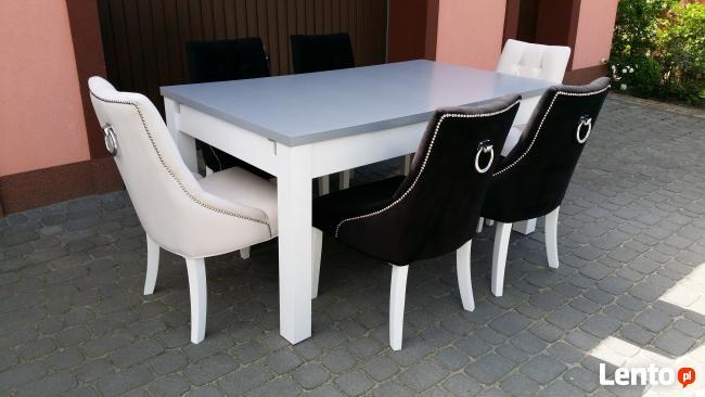 Krzesło z kołatką pinezkami pikowane tapicerowane nowe