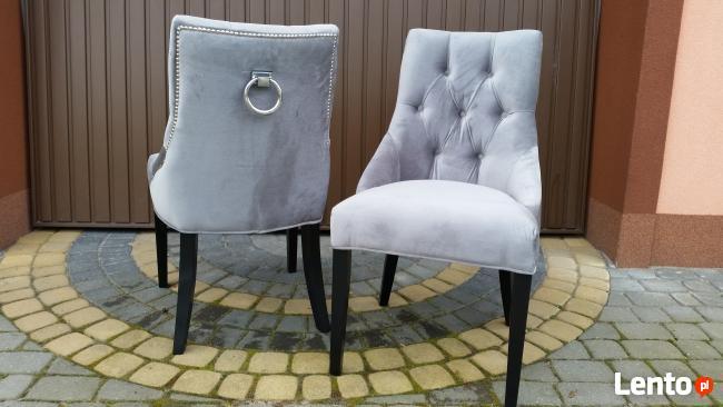 Krzesło chesterfield nowe z kołatką pinezkami pikowane