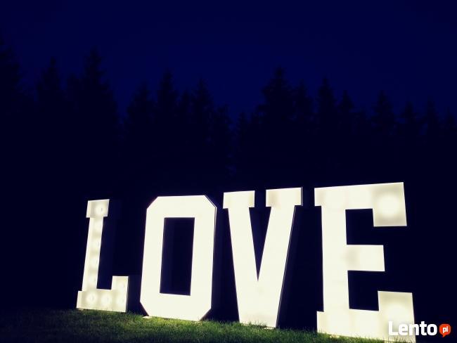 Mega Podświetlany Napis LOVE 120 cm na wesele ślub zaręczyny
