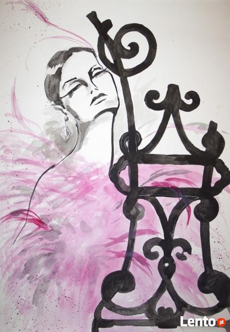 DAMA RÓŻANA obraz artystki plastyka Adriany Laube 70x50cm