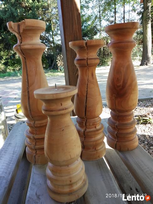 Dekoracje świeczniki toczone drewniane wyroby Rękodzieło