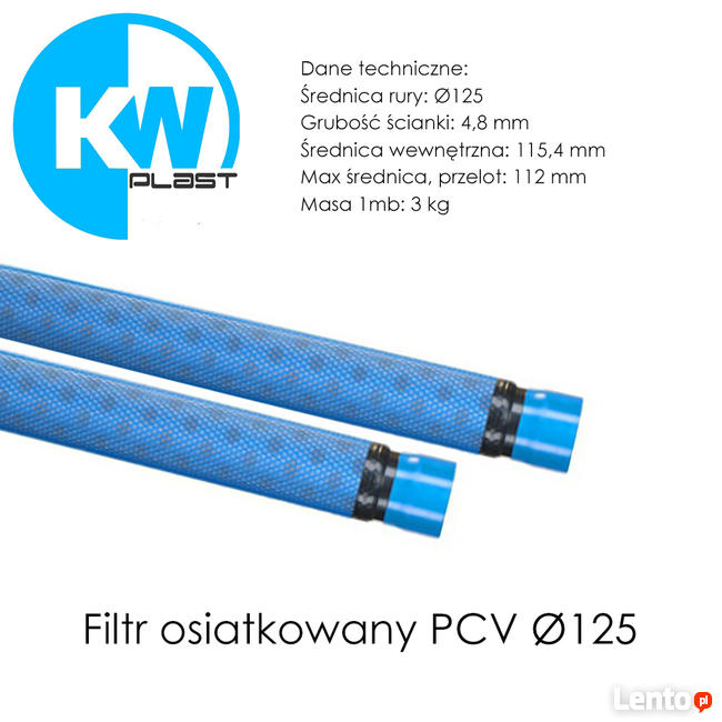 Rura filtrowa osiatkowana PCV Ø125 Filtry do studni