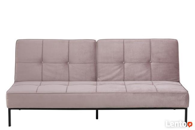 Sofa pikowana welurowa różowa