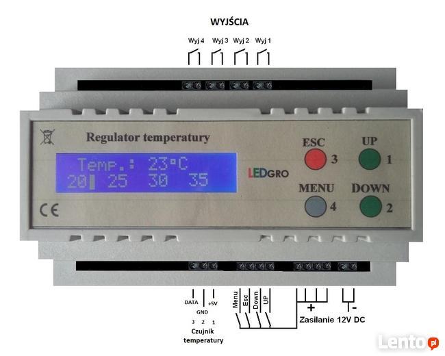 Sterownik pomiar temperatury i alarmy jej przekroczenia