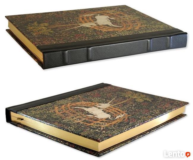 Stara księga gobelin z jednorożcem notatnik, pamiętnik