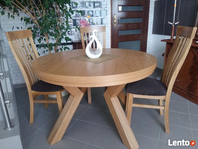 Stół Dębowy Okrągły Loft Krzesła Dębowe Tapicerowane