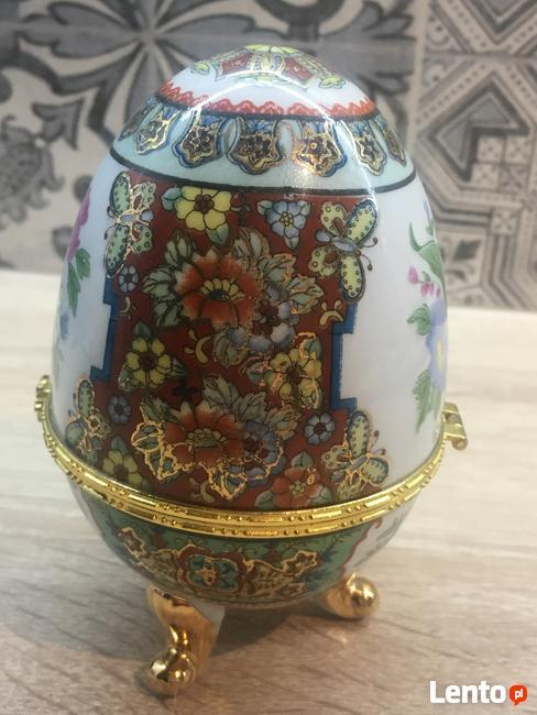 Porcelanowe jajko na drobną biżuterię lub inne SKARBY