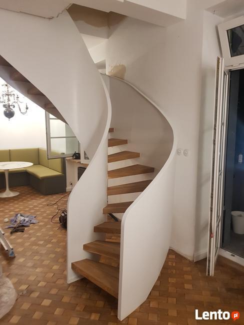 schody zabiegowe gięte metalowe , schody zabiegowe loftowe