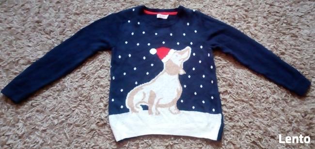 Granatowy sweter sweterek świąteczny na 7-8 lat
