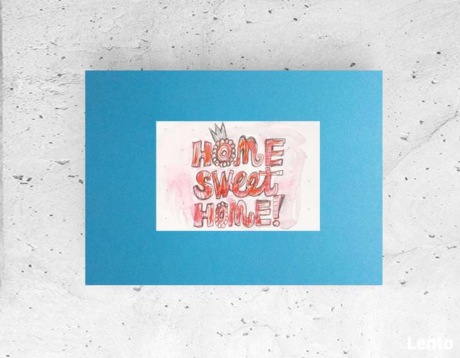 plakat home sweet home, turkusowy obrazek a4