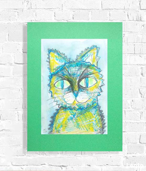 zielony rysunek z kotem, kotek obraz 30x40 cm